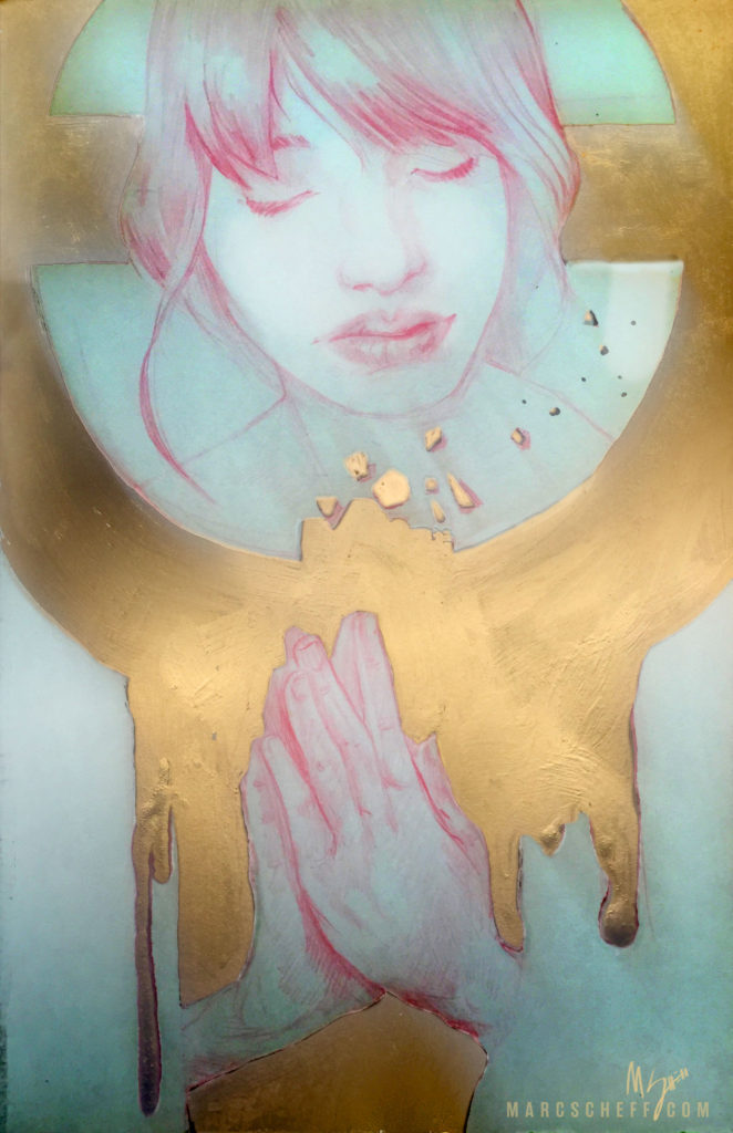 Prayer, a painting in red and gold by Marc Scheff