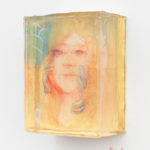 """Foundation"" (pencil and paint and gold leaf in layers of resin)"