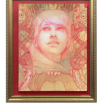 a painting in red, resin, and gold by Marc Scheff